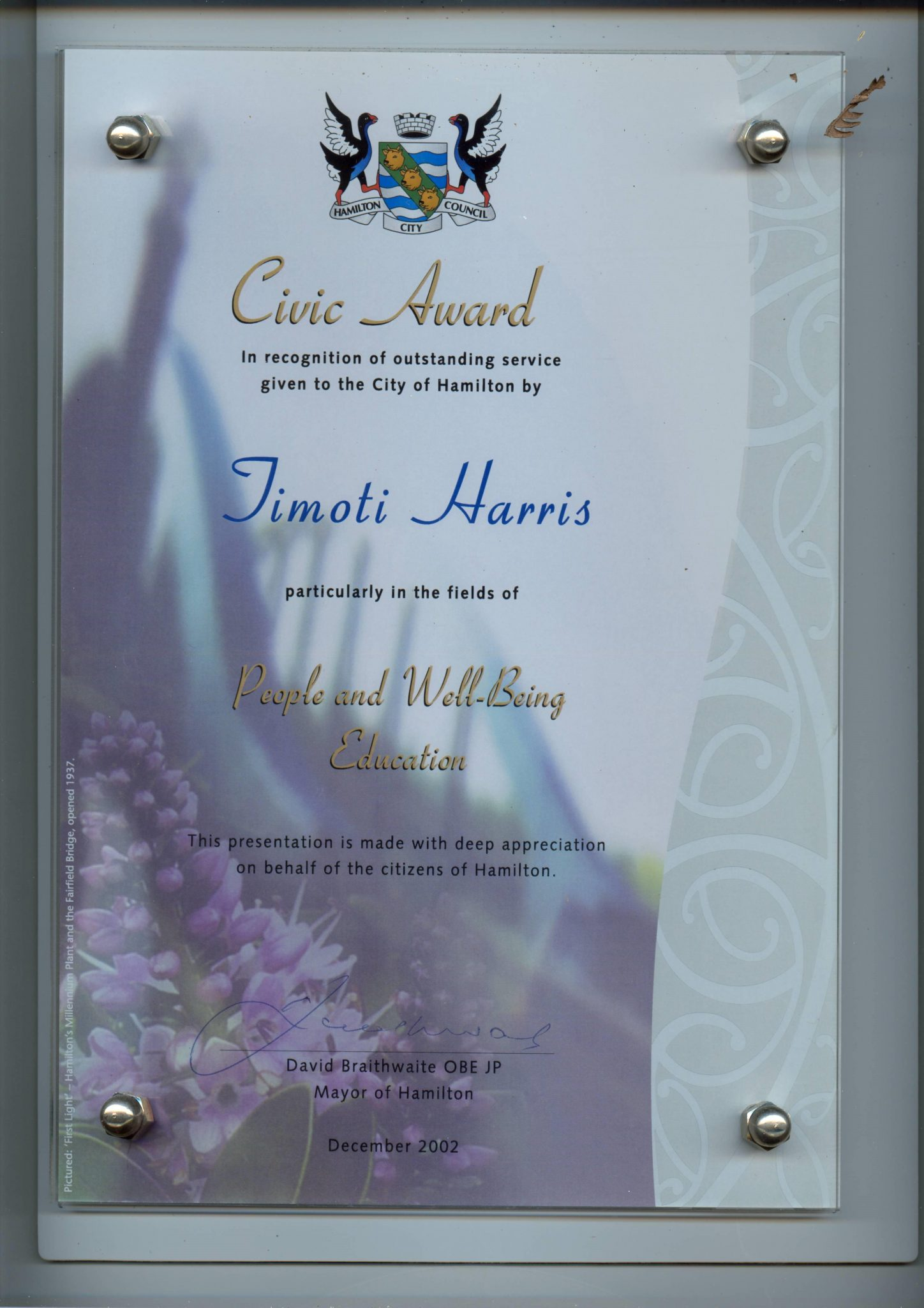 Timoti Harris Civic Award